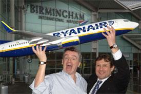 Image: Ryanair's Michael O'leary at Birmingham Airport