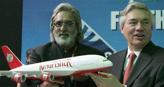 Image: Kingfisher Airlines chairman Vijay Mallya and John, COO, Airbus