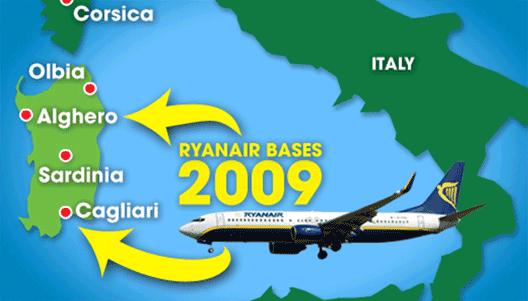 Map: Alghero and Cagliari bases