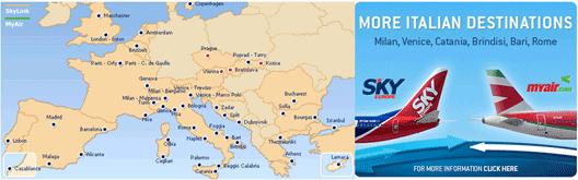 Image: SkyEurope Europeans Destinations route map