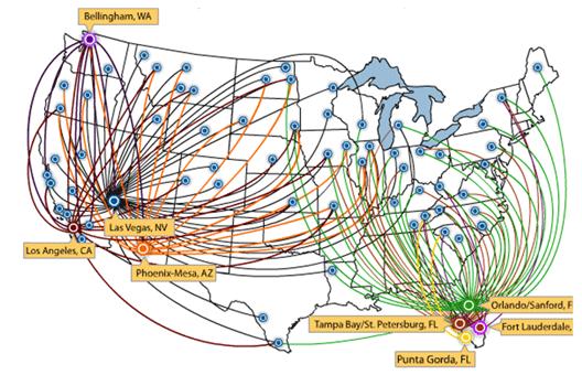 Map: Allegiant Air route map