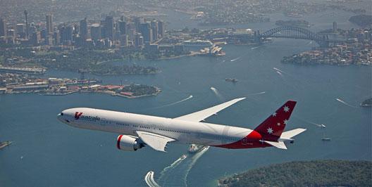 Image: V Australia Plane flying over sydney