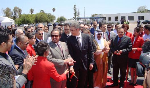 Karim Ghellab, Morrocan minister of transport, HE Sheikh Abdullah Bin Mohammed Al Thani, chairman of Air Arabia, Mohamed Hassan Bensalah, chairman of Air Arabia Maroc, and Adel Ali, managing director, Air Arabia Maroc.