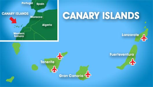 Kanariansaaret lentokentät kartta