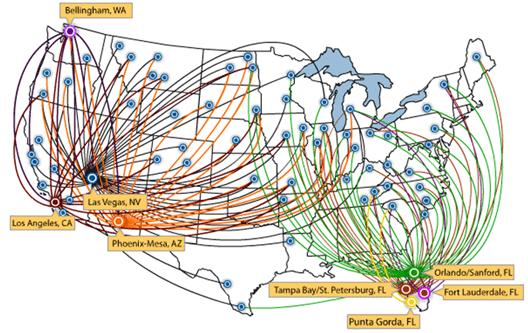 Map: Allegiant routes