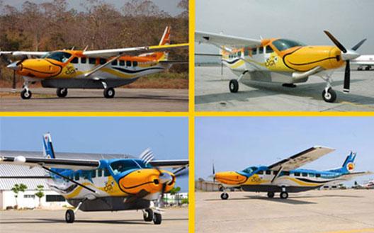 Image: SGA's Cessna 208B Grand Caravans share some of Nok Air's colourful branding