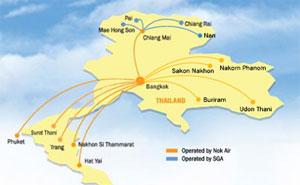 Map: Nok Air Thailand route map