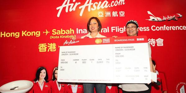 The first passenger on the inaugural flight between Hong Kong and Kota Kinabalu