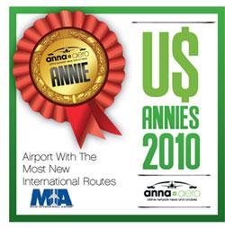 "Miami International Airport wins anna.aero US ANNIE Prize 2010 ""Airport With The Most New International Routes"""