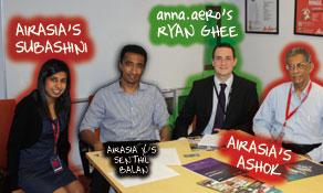 AirAsia's Ashok Kumar, regional director, strategy, airport & planning, and Subashini Silvadas, Network Management, talk to anna.aero in KUL