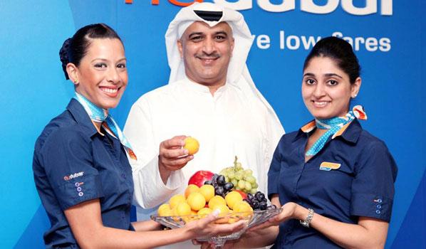 flydubai's CEO Ghaith Al Ghaith and cabin crew enjoyed some traditional Armenian fruit