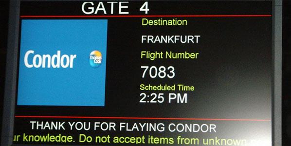 Flight schedule for condor route