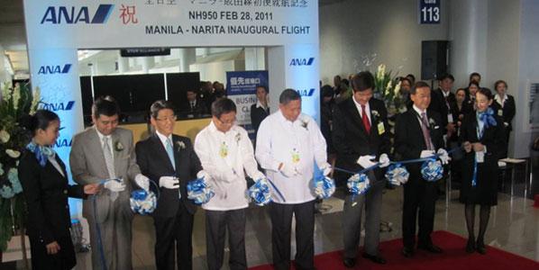 In Manila, a ribbon-cutting ceremony was held for the Japanese Star Alliance carrier ANA's launch of Tokyo Narita flights. The ribbon was cut by Hideaki Izumi, ANA's GM Manila; Shinya Katanozaka, ANA's EVP Products and Services; Octavio F. Lina, Terminal Manager, Manila International Airport Authority (MIAA); Jose Angel A. Honrado, GM MIAA; Alberto Aldaba Lim, Philippine Tourism Secretary; Motohiko Kato, Deputy Chief of Japan's Embassy to the Philippines. (Kind thanks to Atsushi Nakao for the picture)