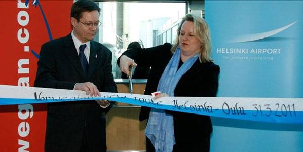 Noronen-Juhola also cut the ribbon for Norwegian's Oulu route