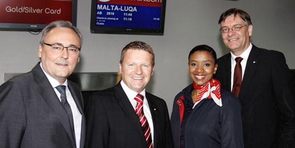 Celebrating airberlin's new weekly service from EuroAirport Basel-Mulhouse-Freiburg to Malta were the airport's marketing director Mario Eland; Stefan Gutknecht, airberlin's sales director Switzerland; cabin crew Salimata Diop; and Matthias von Randow, airberlin board member.