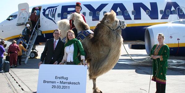 "The Bremen-Marrakesh launch featuring Bremen's CEO, Juergen Bula, Henrike Schmidt, Ryanair's Sales & Marketing Manager Germany and ""Ernie"" the camel"