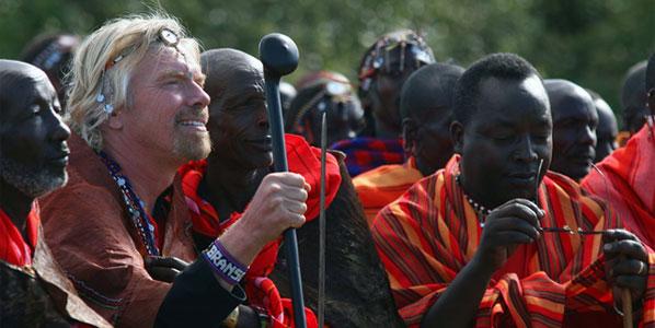 "The Virgin London-Nairobi launch, June 2007: The Masai tribe make Sir Richard a tribal Elder ""in return for bringing prosperity to the land."""