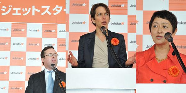 Three principals at the Jetstar Japan first route launch: Qantas CEO Alan Joyce, Jetstar Group CEO Jayne Hrdlicka, and  Jetstar Japan CEO Miyuki Suzuki.