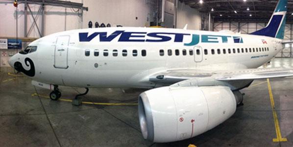 "WestJet's 737 Next Generation ""Mo Boe."""