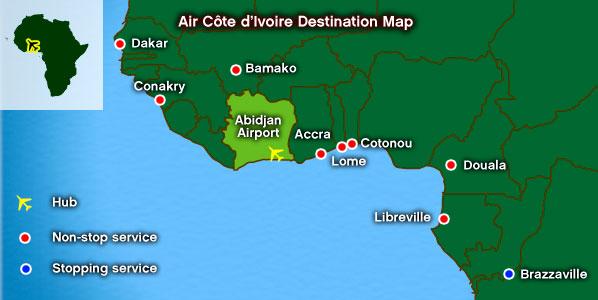 Air Côte d'Ivoire destination map.