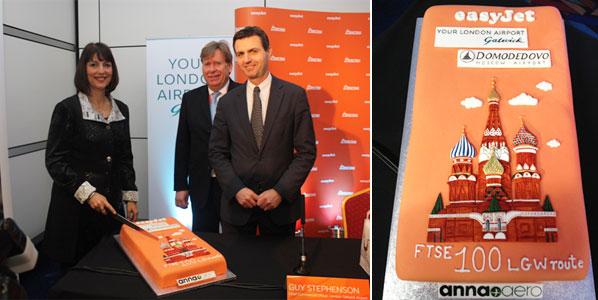 easyJet CEO Carolyn McCall, Aviation Minister Simon Burns and Gatwick Airport CCO, Guy Stephenson