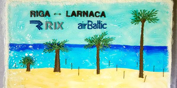 airBaltic Riga to Larnaca cake