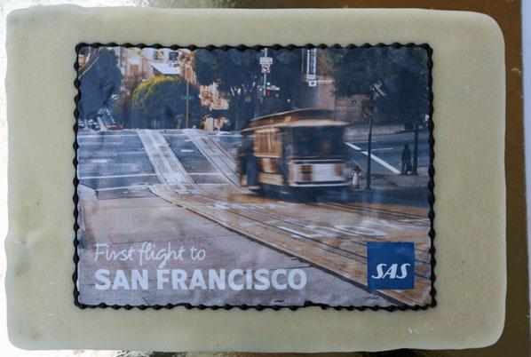 SAS Copenhagen to San Francisco cake