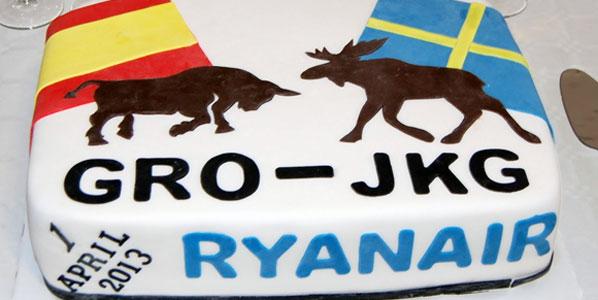 Ryanair Jönköping to Girona cake.