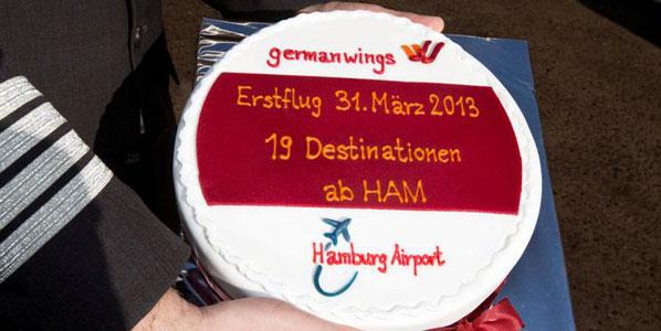 germanwings Hamburg to Barcelona cake.