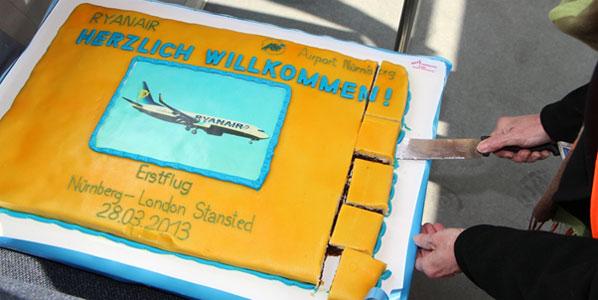 Ryanair Nuremberg to London Stansted cake.
