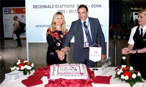 Qatar Airways celebrates in Rome; Finnair and Vueling show their cakes