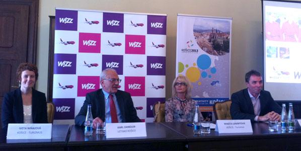From left to right: Iveta Ninajova, Kosice Tourism, Karl Dandler, Kosice Airport, Renata Lenartova, Kosice Tourism, as well as Josef Varadi, CEO at Wizz Air