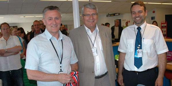 Ålesund Airport's CEO, Tor Hånde; Giske Mayor, Knut Støbakk; and leader of Røros Flyservice at Vigra, Espen Molvær