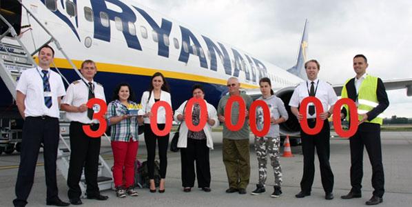 The lucky three-millionth Ryanair passenger.