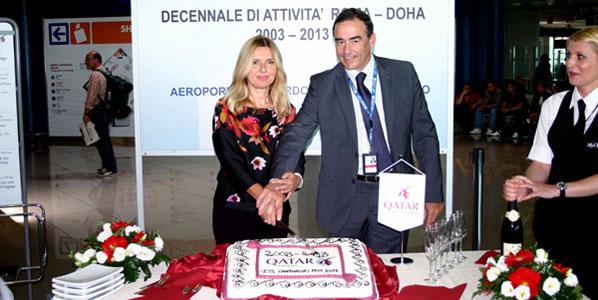 Morena Bronzetti, Qatar Airways' Manager Italy, Switzerland and Malta (left)
