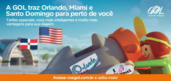 An advert for GOL's Santo Domingo scissor hub