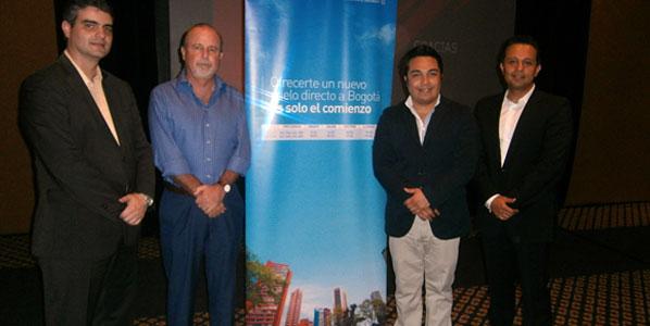 Avianca's Commercial Director, Pablo Gómez; Jesús Almaguer Salazar, Director of Cancun's Visitor and Convention Bureau; Julio Nolasco, Commercial Manager; and Moisés Patiño, Avianca's Head of Sales Mexico