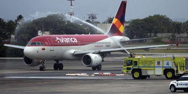 Avianca's inaugural arrival in San Juan in Puerto Rico