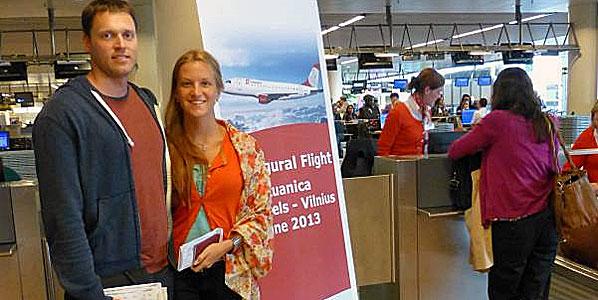 Check-in: Passengers Jonas and Airida Prenskai