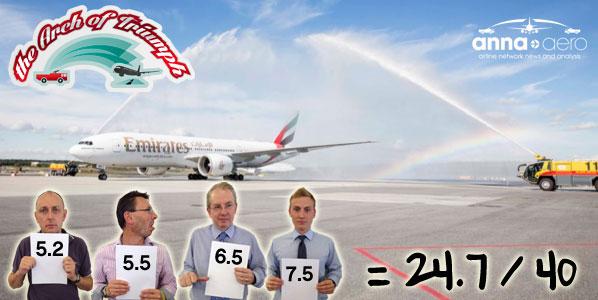 Water cannon salute for Emirates Dubai to Stockholm Arlanda on 4 September