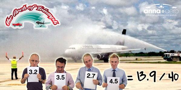 Water cannon salute for Volaris Guadalajara to Merida on 4 September