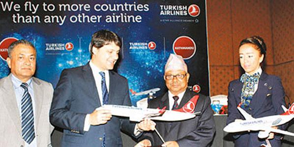 Turkish Airlines and Kathmandu staff celebrate the landmark launch of the Istanbul Atatürk to Kathmandu route on 1 September.