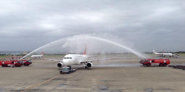 TransAsia Taipei to Tokyo Narita water cannon salute