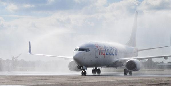 flydubai Dubai to Odessa 20 September water cannon salute
