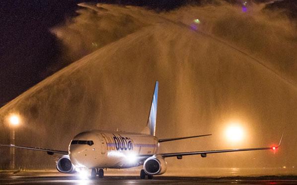 flydubai arriving in Krasnodar September 20 water cannon salute