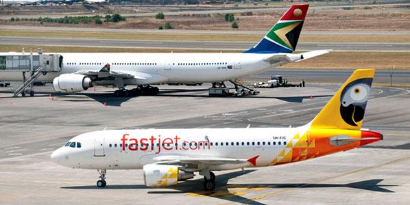On the ramp at Johannesburg — the start of fastjet's international operations.