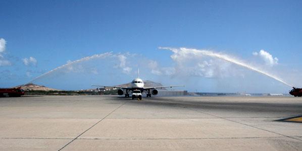 British Airways' inaugural from London Heathrow arriving at Gran Canaria Airport.