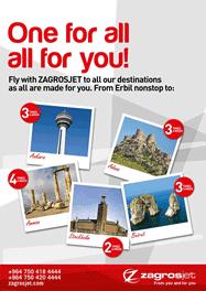 Zagrosjet Erbil route destinations poster