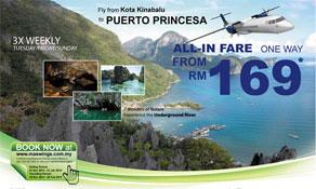 MASwings makes connection from Kota Kinabalu to Puerto Princesa