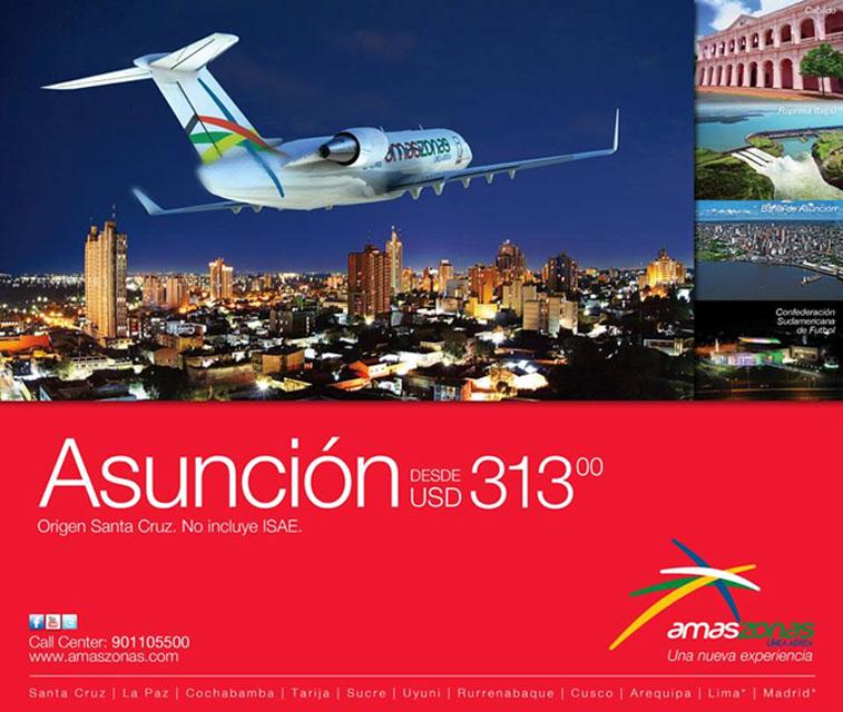 Amaszonas advert for flights to Asunción.